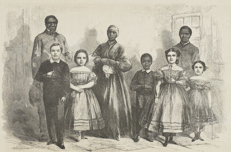 """This engraving derived from a photograph taken in New York City. The union army liberated these people,  who were brought from New Orleans to New York by Philip Bacon, who had established the first school in Louisiana for emancipated slaves; the children were his pupils. The accompanying article gave details and brief biographical sketches for each person including descriptions of racial characteristics and notes on family connections. The image has three adults and five children. According to the accompanying text, the adults were """"Wilson Chinn [60 yrs], a former plantation worker, branded on his forehead; Mary Johnson [no age given], a former cook in New Orleans, showing the scars of mistreatment; Robert Whitehead [no age given], a former house and ship painter and ordained preacher."""" The  children were: Charles Taylor [8 yrs], Augusta Broujey [ 9 yrs], Isaac White [8 yrs], Rebecca Huger [11 yrs], Rosina Downs [7 yrs]), with the notation that """"the children are from the schools established in New Orleans, by order of Major-General Banks"""" (p. 69)."""