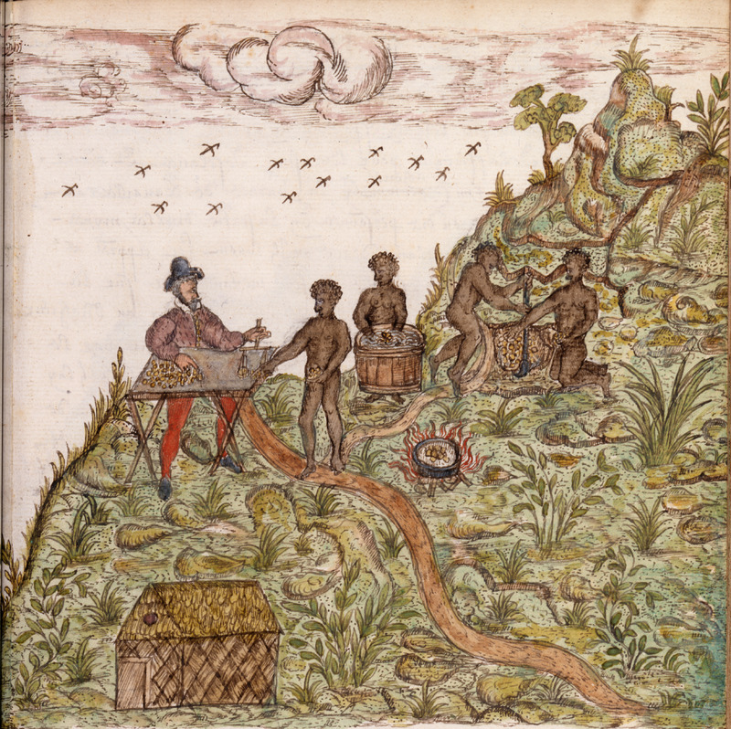 Titled, How the Negro slaves work and look for gold in the mines of the region called Veragua [Panama], this illustration shows a Spaniard and four Blacks (one or two may be women). The Spaniard appears to be weighing the gold dust brought by one of the Blacks; the others are washing and mining the ore. The accompanying description notes: This region is very dangerous. The Negroes live there only a short time . . . . The Spaniards do not force nor permit the Indians to work in the mines for fear they should know the value of the gold, for knowing it, they would go to war and chase them out of the country. The Spaniards buy a great number of Negroes from Africa to serve them as slaves and when the Negroes have finished a day's work in a group of eight or ten, there is at the exit of these mines half a barrel filled with water in which they wash the gold. The description continues to briefly relate how the gold is extracted (Kraemer translation, p. 267). For details on this work, otherwise known as the Drake Manuscript, see image reference MA3900f102; see also images MA3900f57, MA3900f98.