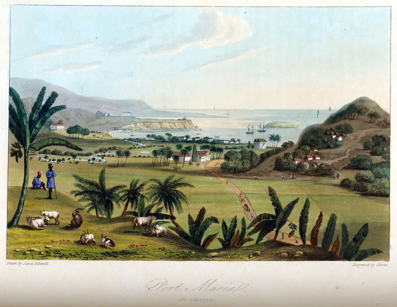This image shows a plantation yard with slave houses strung out along a hillside. Two shepherds tend to livestock in the foreground. James Hakewill (1778–1843) was an English architect known for illustrated publications. Several of his works relating to Jamaica can be found in T. Barringer, G. Forrester, and B. Martinez-Ruiz, Art and Emancipation in Jamaica: Isaac Mendes Belisario and his Worlds (New Haven: Yale Center for British Art in association with Yale University Press, 2007), passim.