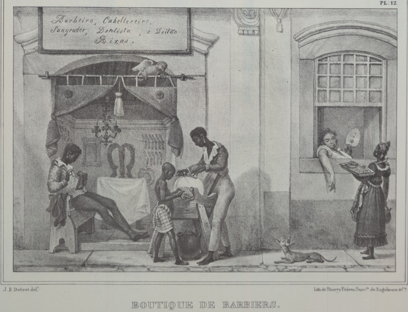 Caption, boutique de barbiers (barber shop); street scene with barber sharpening tools aided by assistant, another lounging in shop; on right, market woman offering goods to a white man. The engravings in this book were taken from drawings made by Debret during his residence in Brazil from 1816 to 1831. For watercolors by Debret of scenes in Brazil, some of which were incorporated into his Voyage Pittoresque, see Jean Baptiste Debret, Viagem Pitoresca e Historica ao Brasil (Editora Itatiaia Limitada, Editora da Universidade de Sao Paulo, 1989; a reprint of the 1954 Paris edition, edited by R. De Castro Maya).