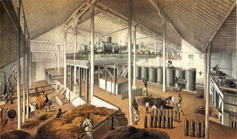 """Boiling House at the Sugar Plantation Asunción"" (caption translation). This image hows interior of sugar factory with machinery and enslaved laborers engaged in various tasks. The accompanying text gives information on the plantation's location, ownership, technical features of sugar production and similar data. There were 400 slaves on this plantation. Justo German Cantero (1815-1871) was born in Trinidad, Cuba. The image shown here is from the 1984 reprint which only reproduces, on a smaller scale, 13 of the 28 colored lithographs found in the original 1857 edition. Images in the latter can be viewed on the British Library website, Images Online."