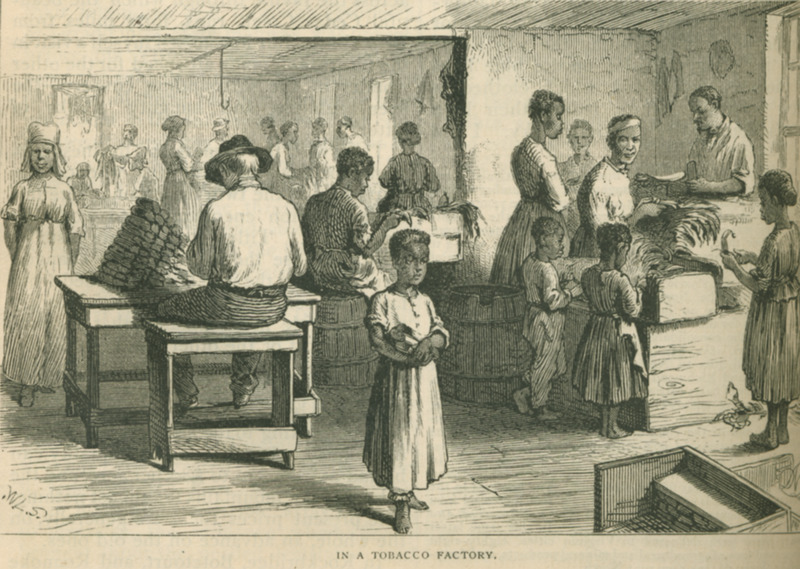 Men, women, and children at work. The Scribner's illustration identifies this tobacco warehouse as being near Liberty Hill, a community in Bedford County; however, King (p. 557) identifies the scene as Lynchburg where tobacco is the main article of . . . trade. Buyers from all parts of the Union crowd the streets; the warehouses are daily visited by throngs.