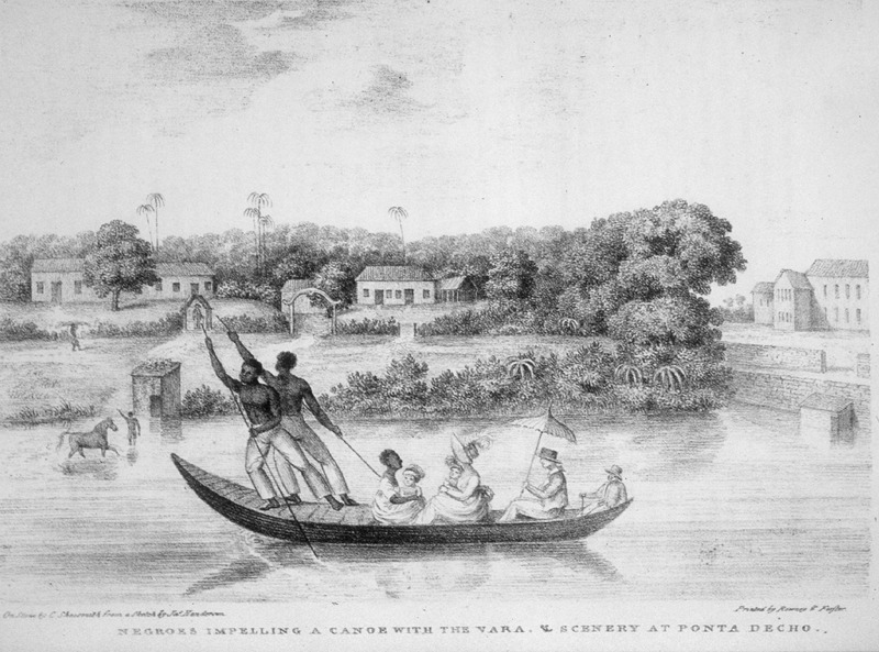 This image shows two black men poling a canoe, while a white family and its black nursemaid enjoy the scenery along a river in Pernambuco, Brazil. James Henderson (c. 1783-1848) was a British traveler who traveled all through Brazil between 1819 and 1820. He made all of his sketches from his observations.