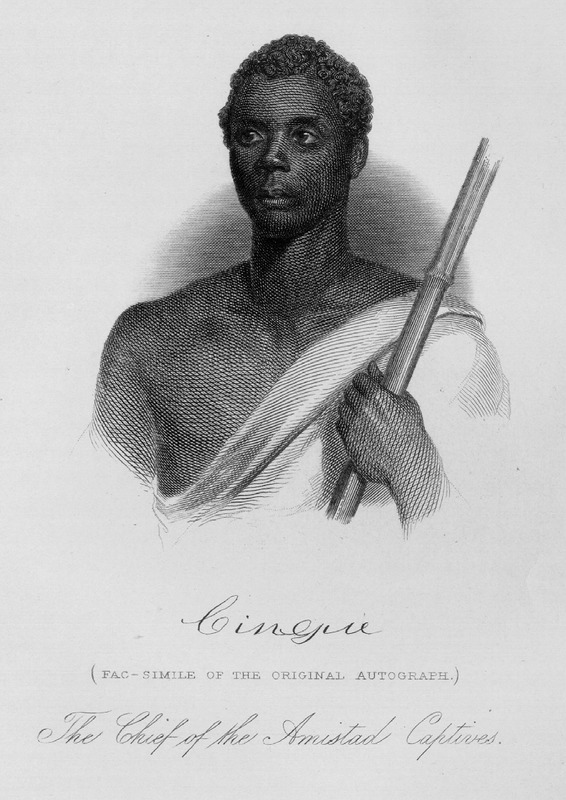 Joseph Cinqué (ca. 1814–ca. 1879), also known as Sengbe Pieh, was Mende from the Upper Guinea Coast. He helped lead a revolt of many Africans on the Spanish slave ship, La Amistad. This engraved portrait is based on original painting of 1839-1840, by Nathaniel Jocelyn, held by New Haven Colony Historical Society.