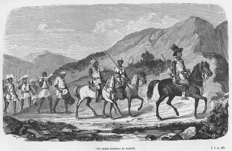 Caption: Une armée Bambara en marche, shows a group of Bambara/Bamana foot soldiers, led by three horse-mounted officers who are followed by two musicians; shown are arms, musical instruments,clothing styles, and the horse's gear.