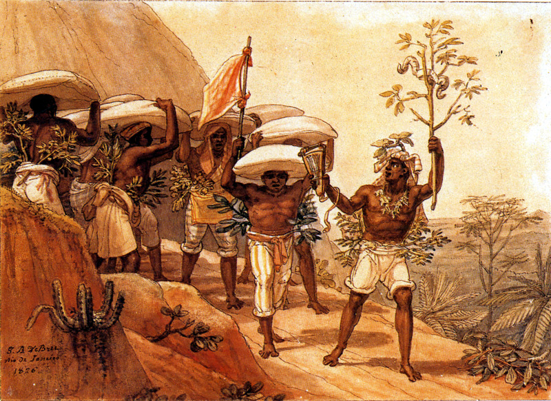 """""""Convoy of coffee heading toward the city"""" (caption translation). This image shows a group of men carrying bags of coffee to a town market. The man in the lead was carrying a coffee branch and what appears to be a thumb piano in his right hand. Such gangs often had a leader or boss and sang as they worked. The date of this watercolor is given on the image. Debret lived in Brazil from 1816 to 1831. For watercolors by Debret of scenes in Brazil, some of which were incorporated into his Voyage Pittoresque, see Jean Baptiste Debret, Viagem Pitoresca e Historica ao Brasil (Editora Itatiaia Limitada, Editora da Universidade de Sao Paulo, 1989; a reprint of the 1954 Paris edition, edited by R. De Castro Maya."""