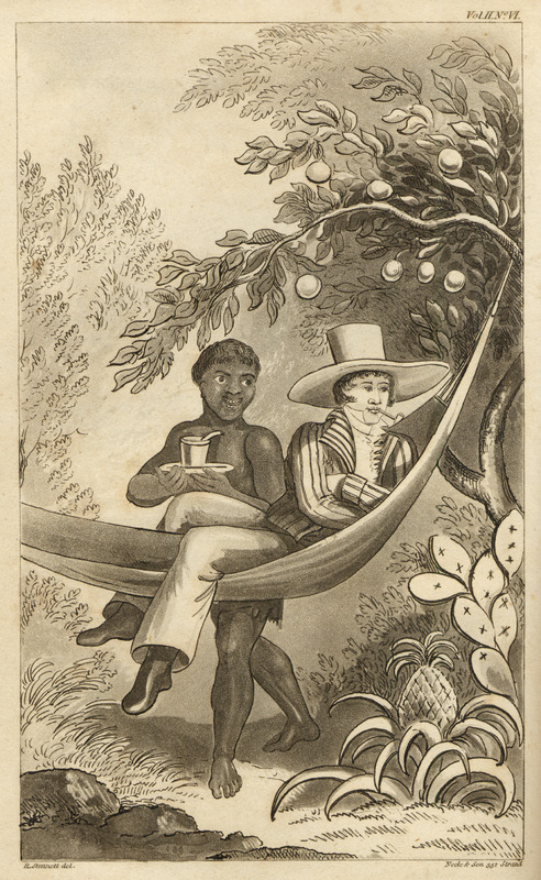 Caption, A Spanish planter in Porto Rico, luxuriating in his hammock. Waller, a surgeon in the British Navy, briefly visited Puerto Rico in May 1808.