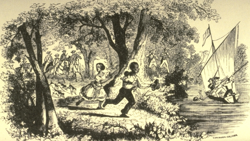 Caption, running away; fugitives trying to elude white captors. The Fugitive Slave Act (1850) authorized slave catchers to track down runaway slaves.