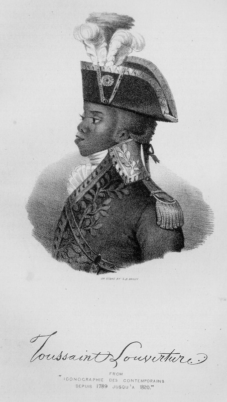 Profile of the leader of the slave revolt in St. Domingue. Despite a variety of images of Toussaint, none were actually drawn from life (see also other images of Toussaint on this website).