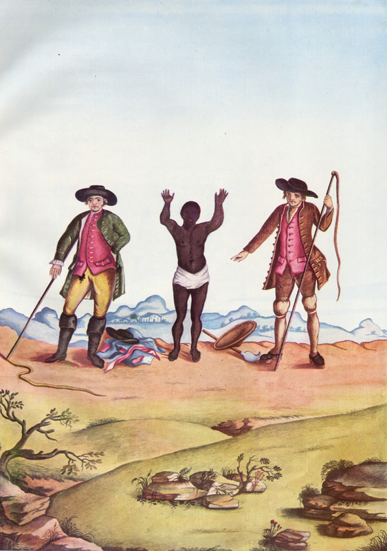 Two overseers, one holding a whip, with slave between them. The slave's clothes and hat are on the ground before him, suggesting that he was about to be whipped although the caption to this illustration does not explain what is happening. Born in Italy ca. 1740, Juliao joined the Portuguese army and traveled widely in the Portuguese empire; by the 1760s or 1770s he was in Brazil, where he died in 1811 or 1814. For a detailed analysis and critique of Juliao's figures as representations of Brazilian slave life, as well as a biographical sketch of Juliao and suggested dates for his paintings, see Silvia Hunold Lara, Customs and Costumes: Carlos Juliao and the Image of Black Slaves in Late Eighteenth-Century Brazil (Slavery & Abolition, vol. 23 [2002], pp. 125-146).