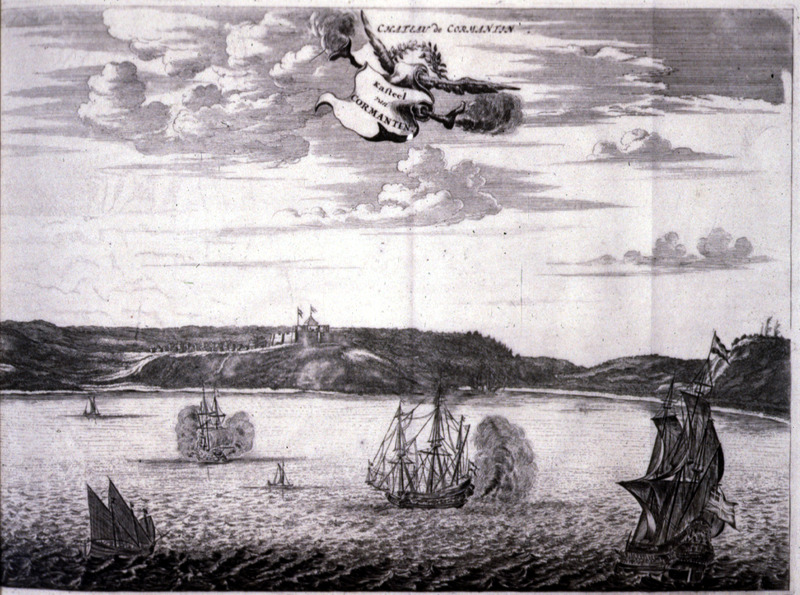 """""""Cormantin Castle"""" (caption translation). From the Voltaic region, this view from the sea shows Cormantin castle in the distant background. In the foreground, there are several European ships. For an informed discussion of Dapper as an historical source, see Adam Jones, Decompiling Dapper: A Preliminary Search for Evidence (History in Africa, vol. 17 [1990], pp. 171-290)."""