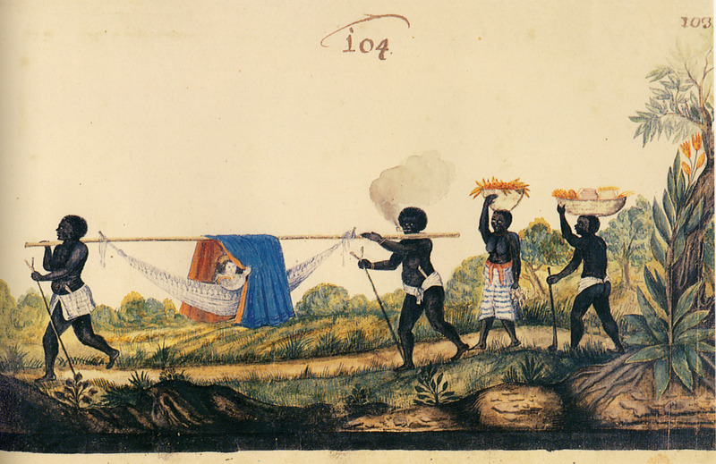 White woman being carried in a covered hammock by two male slaves, white clay pipes tucked into their clothing; other slaves following on foot, carrying fruit baskets. Wagener/Wagner was a German mercenary for the Dutch West India Company; in 1634, at the age of about 20, he went to northeastern Brazil and stayed there for 7 years. He writes The wives and children of notable and wealthy Portuguese are transported in this manner, by two strong slaves, to the houses of their friends or to church; they hang the beautiful cloths of velvet or damask over poles so that the sun does not burn them strongly. They also take behind them a variety of beautiful and tasty fruits as a present for those that they wish to visit (vol. 2, p. 190).