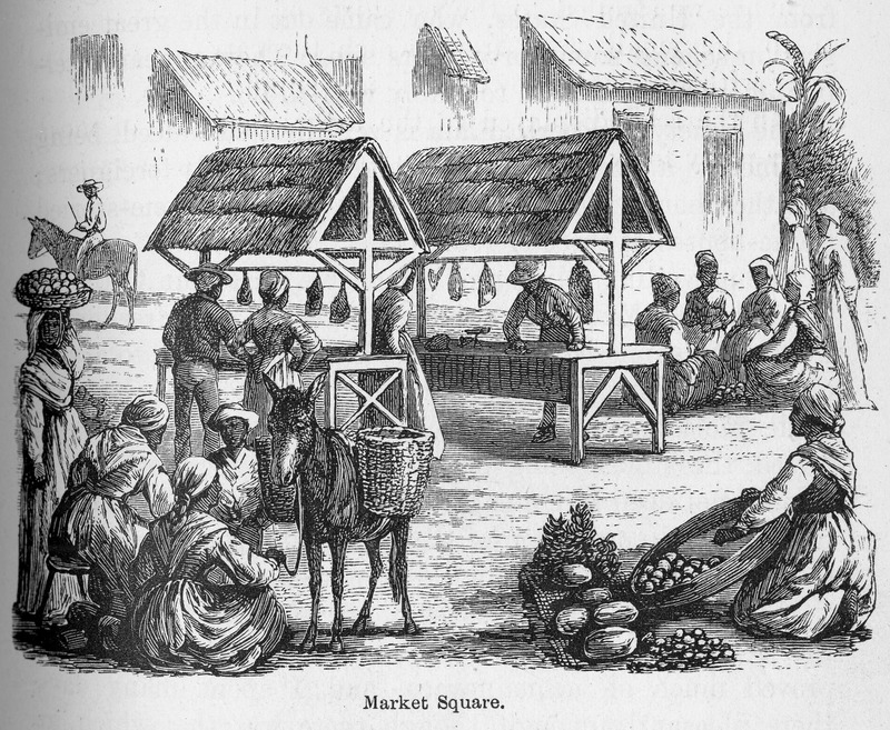 This illustration accompanies a description of the marketplace composed of a few rude booths, made of thatch and poles, in Puerto Plata, Santo Domingo. Samuel Hazard (1834-1876) was an American publisher and bookseller from Pennsylvania, who collected engravings and prints. After joining the union army, he rose through the ranks as brevet major until he resigned on surgeon's certificate of disability in 1865. After, he traveled to Cuba and Santo Domingo as a correspondent of the Philadelphia Press during protracted conflict related to the decolonization of the Spanish Caribbean.