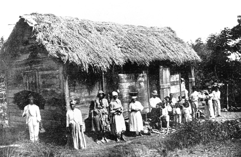 This type of thatched house was probably found during the later years of the slave period, in the early 19th century.