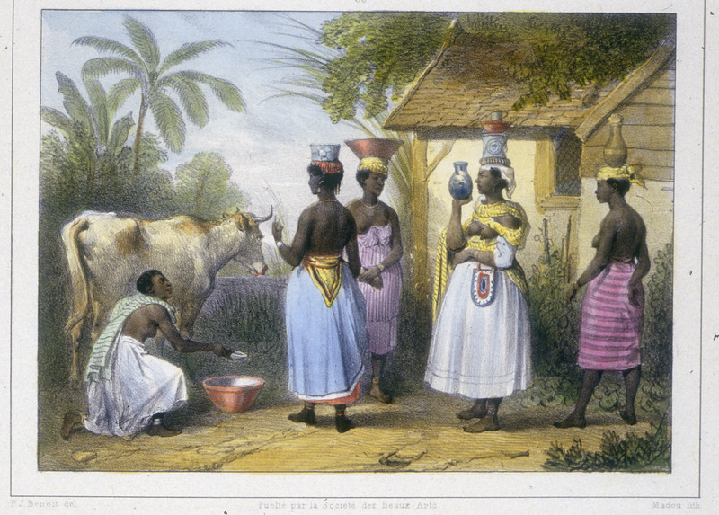"""""""Milkmaid and Negro Women Carrying Milk"""" (caption translation). This engraving shows a group of women standing in front of thatched-roof shack with pots and bowls on their head, while a woman kneels before a cow. Benoit explained that """"milk and milk products are provided by elderly missies who own cows. These women then have their milk peddled or hawked by their own slaves, young black or creole women"""" (p. 37). Pierre Jacques Benoit (1782-1854) was a Belgian artist, who visited the Dutch colony of Suriname on his own initiative for several months in 1831. He stayed in Paramaribo, but visited plantations, maroon communities and indigenous villages inland."""