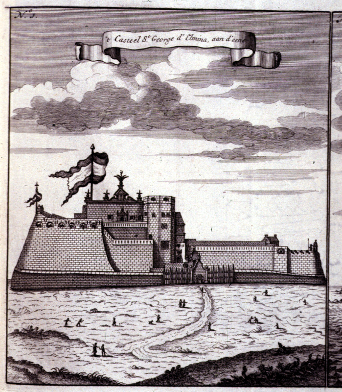 """""""Castle of St. George d'Elmina"""" (caption translation). From the Voltaic region, this view from the sea shows Elmina, which was built by the Portuguese in the 1480s. By 1637, the Dutch took it over until 1872. Bosman was an official of the Dutch West India Company and chief factor at Elmina. See Christopher DeCorse, An Archaeology of Elmina: Africans and Europeans on the Gold Coast, 1400-1900 (Smithsonian Institution Press, 2001). Refer also to Image D021."""
