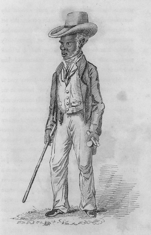 Based on a real life sketch, this portrait of John Gordon, a free person of colour who claimed to be the only barber in town for gentlemen. The author identifies himself in Vol. 2 (p. 385). He lived in the West Indies during the 1820s. Gordon is described at length in vol. 2, pp. 161-168, the author commenting that Gordon had a knack for determining international news based on the movements of ships and officials. His knowledge and cleverness made him a valuable resource to all the residents of the island, from the poorest laborers and slaves to top government officials. Gordon had died by time Wentworth's book was published.