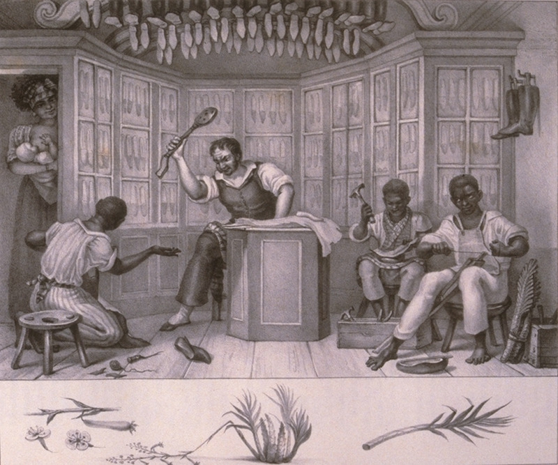 Caption, Boutique de Cordoniere, shows white shoemaker with black assistants/apprentices. A nursing mother shown on the left, while the shoemaker is beating a slave with a palmatoria, a wooden paddle with holes in it (James Sweet, Recreating Africa: Culture, Kinship, and Religion in the African Portuguese World, 1441-1770 [University of North Carolina Press, 2003], p. 212). The engravings in this book were taken from drawings made by Debret during his residence in Brazil from 1816 to 1831. For watercolors by Debret of scenes in Brazil, some of which were incorporated into his Voyage Pittoresque, see Jean Baptiste Debret, Viagem Pitoresca e Historica ao Brasil (Editora Itatiaia Limitada, Editora da Universidade de Sao Paulo, 1989; a reprint of the 1954 Paris edition, edited by R. De Castro Maya).