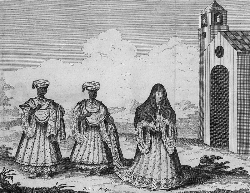 A Creole-Lady veiled, going to Church, shows two black female servants (slaves?) with full length skirts and petticoats and turbaned heads (or head ties), accompanying an elaborately dressed European woman to church