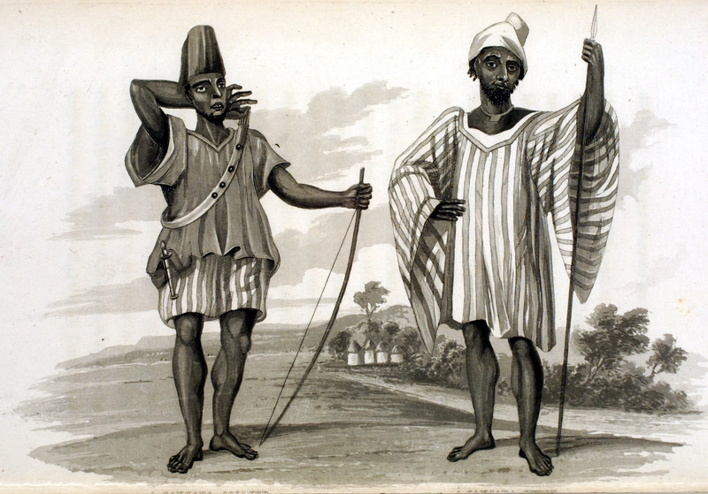 Caption, A Sangara Soldier (left), A Sangara Chief (right), showing clothing styles and weapons; the bow and spear are their principal warlike instruments (p. 372). Country of Sangara, on western part of Niger river, in Western Sierra Leone, where the author traveled in the early 1820s.