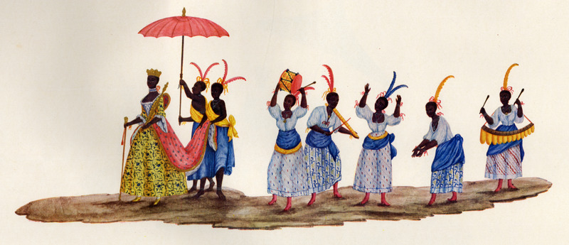 Shows the coronotion of a Black Queen and clothing styles of female slaves. The elaborately attired Queen is accompanied by two slave women, one holds her long cape, the other an umbrella to protect her from the sun. She is followed by an entourage of slave women, some dancing and playing various musical instruments, e.g., drum, rasp.  Born in Italy ca. 1740, Juliao joined the Portuguese army and traveled widely in the Portuguese empire; by the 1760s or 1770s he was in Brazil, where he died in 1811 or 1814. For a detailed analysis and critique of Juliao's figures as representations of Brazilian slave life, as well as a biographical sketch of Juliao and suggested dates for his paintings, see Silvia Hunold Lara, Customs and Costumes: Carlos Juliao and the Image of Black Slaves in Late Eighteenth-Century Brazil (Slavery & Abolition, vol. 23 [2002], pp. 125-146).