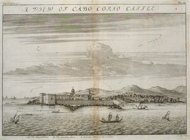 View from the sea; African town on right. Barbot was Agent-General of the Royal Company of Africa.  For details, see P.E.H. Hair, Adam Jones, and Robin Law, eds., Barbot on Guinea: The Writings of Jean Barbot on West Africa 1678-1712 (London: The Hakluyt Society, 1992).