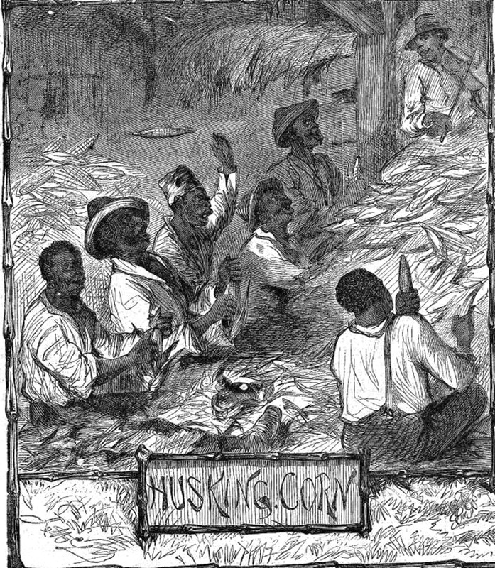 This image depicts a group of enslaved men singing while husking corn at a big table at an unspecified place in the U.S. South. Note the fiddle player in the upper right. This image shows an enslaved man dancing in front of a crowd at an unidentified place in the U.S. South. On the left, a man plays a banjo. Harper's Weekly: A Journal of Civilization was an American political magazine based in New York City and published by Harper & Brothers from 1857 until 1916. It featured foreign and domestic news, fiction, essays on many subjects and humor, alongside illustrations. It covered the American Civil War extensively, including many illustrations of events from the war.