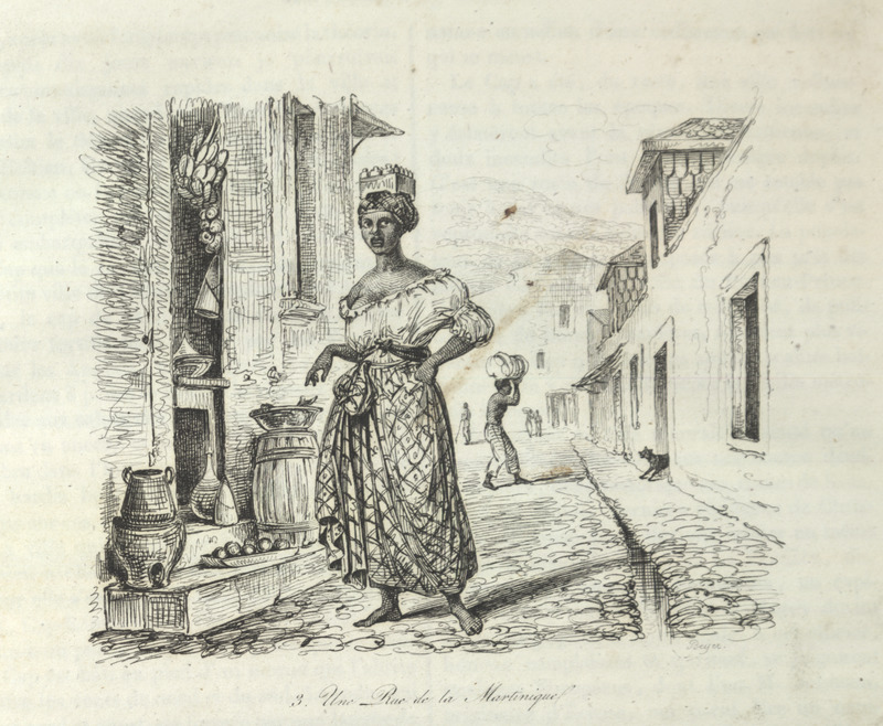 Caption, Une Rue de la Martinique (A Street in Martinique), shows a quarter in St. Pierre largely inhabited by female Negro and Mulatto (Negresses et Mulatresses) shopkeepers (p. 24). The woman in the foreground carries goods on her head; open door of a shop showing some of goods for sale, and on the doorstep pottery vessels, including a coal-pot used for cooking.