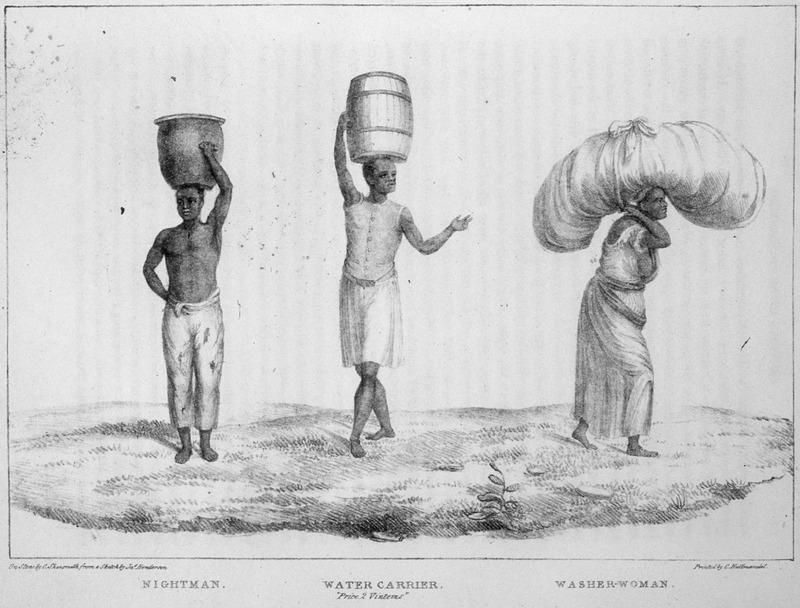 The image shows various enslaved people carrying different heavy loads on top of their heads. James Henderson (c. 1783-1848) was a British traveler who traveled all through Brazil between 1819 and 1820. He made all of his sketches from his observations.