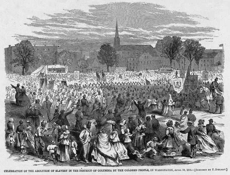 This image shows a large crowd of people gathered in celebration in Washington, D.C.  Harper's Weekly: A Journal of Civilization was an American political magazine based in New York City and published by Harper & Brothers from 1857 until 1916. It featured foreign and domestic news, fiction, essays on many subjects and humor, alongside illustrations. It covered the American Civil War extensively, including many illustrations of events from the war.