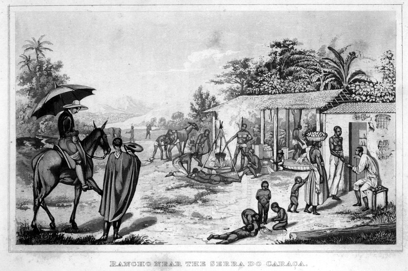 Caption, Rancho, near the Serra do Caraca. Shows miscellaenous activities, e.g., cooking over open fire, children playing, woman hawker with basket of goods on her head. The author describes this plate on p. x: A rendezvous for travellers in Minas, at which a caravan carrying cotton, has just stopped. Some negro slaves bring wood and water and prepare the dinner, others drive the mules to pasture, arrange the baggage, or assist the Arieiro to shoe the mules. The young negro slave of the owners, who is riding up, is fixing the hammock for him. In the neighboring building the Vendeior is selling provisions. The same image appears in the Atlas of the original German edition: Johann Baptist von Spix, Reise in Brasilien (Munchen, 1831), plate 8.
