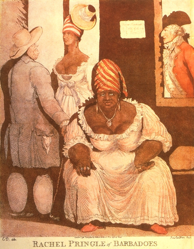 Shows Pringle at the age of about 36 sitting in front of her hotel/tavern/house of prostitution in Bridgetown, capital of Barbados. The white man on left, presumably a planter has elephantiasis, a manifestation of filariasis, a common disease in West Africa during the era of the slave trade. In Barbados the disease mainly afflicted blacks but was also found among the island's white population. (For details on the disease, see Jerome Handler, Diseases and Medical Disabilities of Enslaved Barbadians [Journal of Caribbean History, vol. 40 (2006): 20-22.) Rachel Pringle was born a slave around 1753, the daughter of an African woman and her master, a Scottish schoolmaster. In the 1770s, she became the first free woman of color to own a hotel-tavern (and house of prostitution) in Barbados. When she died in 1792, at the age of 38, she was relatively wealthy. See Jerome S. Handler, Joseph Rachell and Rachael Pringle-Polgreen: Petty Entrepreneurs, in D.G. Sweet and G. B. Nash, eds., Struggle and Survival in Colonial America (Univ. of California Press, 1981), pp. 376-391. (Slide of engraving, courtesy of the late Neville Connell, Director of the Barbados Museum.)