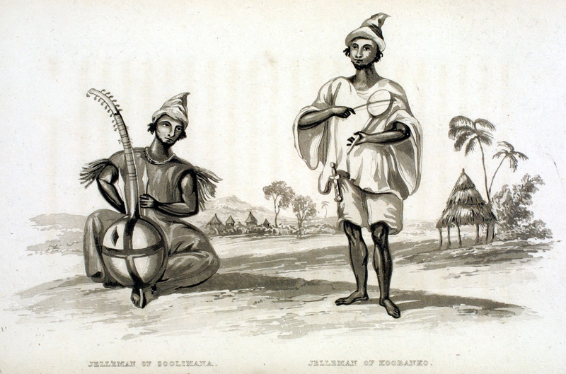 Caption, Jelleman of Soolimana (left); Jelleman of Kooranko (right). on right (kooranko) depicts a griot or minstrel, shown with a sort of fiddle, the body of which was formed of a calabash, in which two small holes were cut to give it a tone; it had only one string, composed of many twisted horse-hairs, and although he could only bring from it four notes, yet he contrived to vary them so as to produce a pleasing harmony... (p.148). The author travelled in Sierra Leone in the early 1820s.