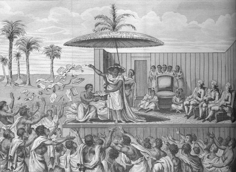 Captioned, Cèrèmonie de l'Anniversaire de la mort du Pere du Roi des Dahomets (Ceremony of the Anniversary of the death of the father of King of Dahomey). Note European visitors (slave traders ?) seated on the platform (right side); king in foreground. The ceremony is described on pp. 190-193.