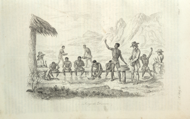 Caption, Lavage des Diamans; shows group of enslaved males, wearing loin cloths, panning for diamonds; several European overseers watching over them. Location in the Diamond District, Serro Frio (Cerro-do-Frio). The author describes the process of gathering diamonds, how people can be rewarded for their finds as well as the severity of punishments for stealing (pp. 178-179).
