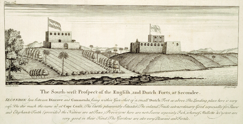 Caption: The South-west Prospect of the English and Dutch Forts at Secondee . . . . The inland trade extraordinary good especially for slaves and elephants teeth (provided the natives are at peace). Provisions here are not scarce especially fish.  Smith made his survey for the Royal African Company. See also other images mariners on this site.