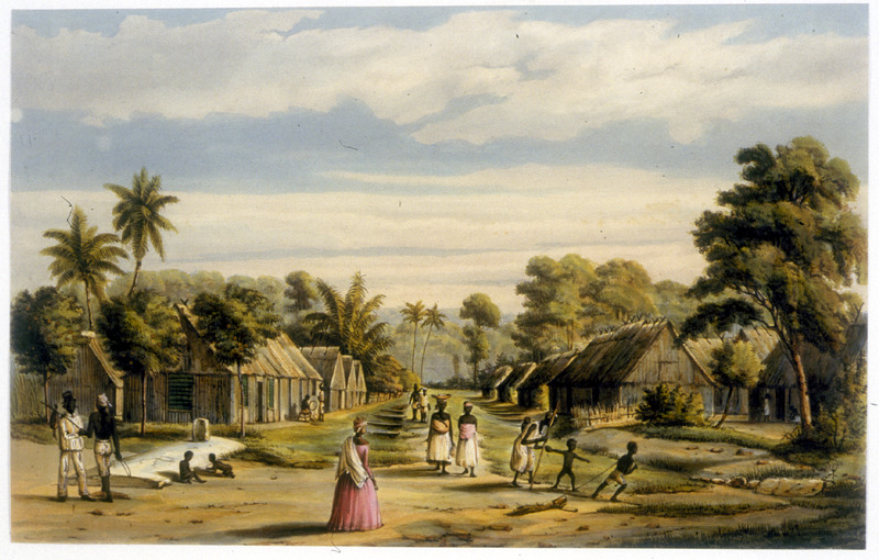A plantation village not long before the Dutch abolished slavery in 1863. Shows thatched roof houses, men and women (some carrying infants), and children playing.