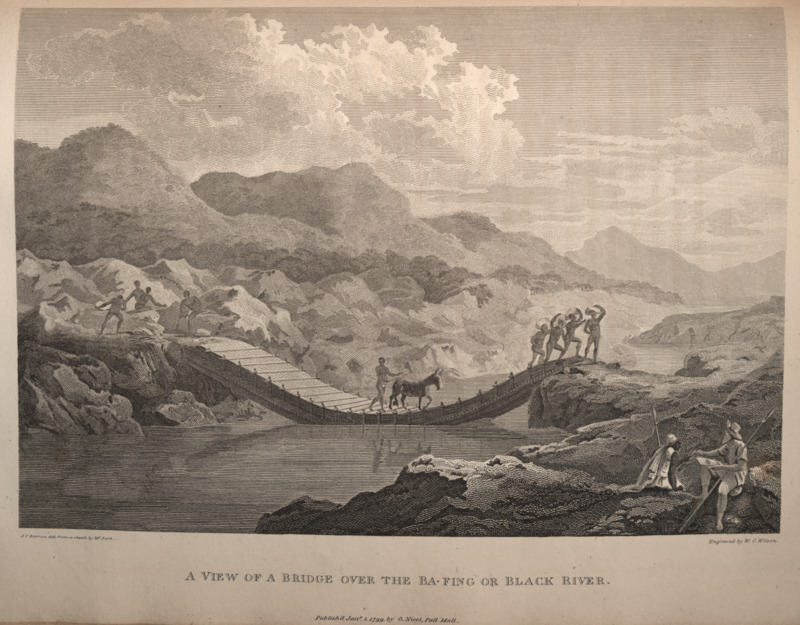 "This engraving shows a man with a donkey and a group of people with sacks on their heads crossing a bridge over the Senegal river. People on the banks of the river watch. Park described ""a bridge of bamboos, of a very singular construction. . . two tall trees, when tied together by the tops, are sufficiently long to reach from one side to the other; the roots resting upon the rocks, and the tops floating in the water. When a few trees have been placed in this direction, they are covered with dry bamboos, so as to form a floating bridge, with a sloping gangway at each end, where the trees rest upon the rocks. This bridge is carried away each year by the swelling of the river in the rainy season, and is constantly rebuilt by the inhabitants . . . who on that account expect a small tribute from every passenger"" (p. 338). Based on a sketch made by Mungo Park (1771–1806), who was a Scottish explorer and member of the African Association. He travelled across the Western Savanna to map the course of the Niger, which he erroneously theorized merged with the Congo river. On his second expedition, he was killed about two-thirds of the way down the Niger at Bussa in Borgu."