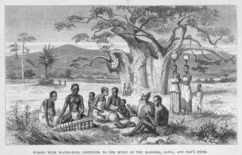 """This image depicts women (some with pottery vessels) and children listening to three musicians playing the marimba, sansa and pan pipes in the Great Lakes region. According to Livingstone, """"a band of native musicians came to our camp one evening. . . and treated us with. . . music on the marimba, an instrument formed of bars of hard wood of varying breadth and thickness, laid on different-sized hollow calabashes, and tuned to give notes (Livingstone, p. 63). David Livingstone (1813–1873) was a famous Scottish physician, Christian missionary, explorer and abolitionist. His interest was to locate the source of the Nile River. His missionary work also reinforced the European """"Scramble for Africa"""" and the colonization of the continent."""