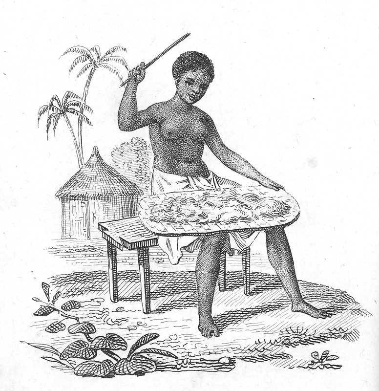 Caption Negresse Battant le Coton au lieu de le Carder (Woman Beating Cotton Instead of Carding it); sitting on a wooden bench, a circular house with conical thatched roof in the background. Villeneuve lived in the Senegal region for about two years in the mid-to-late 1780s. The engravings in his book, he writes, were made from drawings that were mostly done on the spot during his African residence (vol. 1, pp. v-vi).