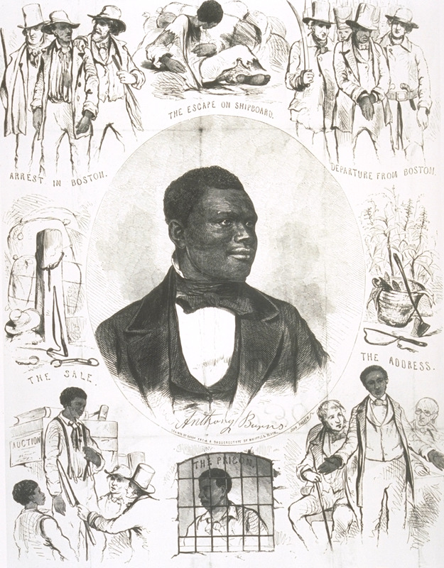 Anthony Burns was born a slave in Virginia in 1824. In 1854 he escaped to Boston where he was arrested soon after his arrival under terms of the 1850 Fugitive Slave Act. Although abolitionists tried to liberate him he was returned to his master in Virginia. His freedom was purchased by members of a Boston church in 1855. He returned to Boston, ultimately attended Oberlin college and became a clergyman. He died in 1862. This engraved portrait of Burns shows him surrounded by scenes depicting different phases of his life, including (from lower left), the purchase of the young Burns at auction, a whipping post with bales of cotton, his arrest in Boston in 1854, his escape from Richmond on board a ship, his removal from Boston, his address to the court, and Burns in prison. A different portrait of Burns also appears on the title page of a pamphlet, The Boston Slave Riot, and Trial of Anthony Burns (Boston, 1854 [see LC-USZ62-90720]). See also Virginia Hamilton, Anthony Burns: the defeat and triumph of a fugitive slave (New York, 1997).