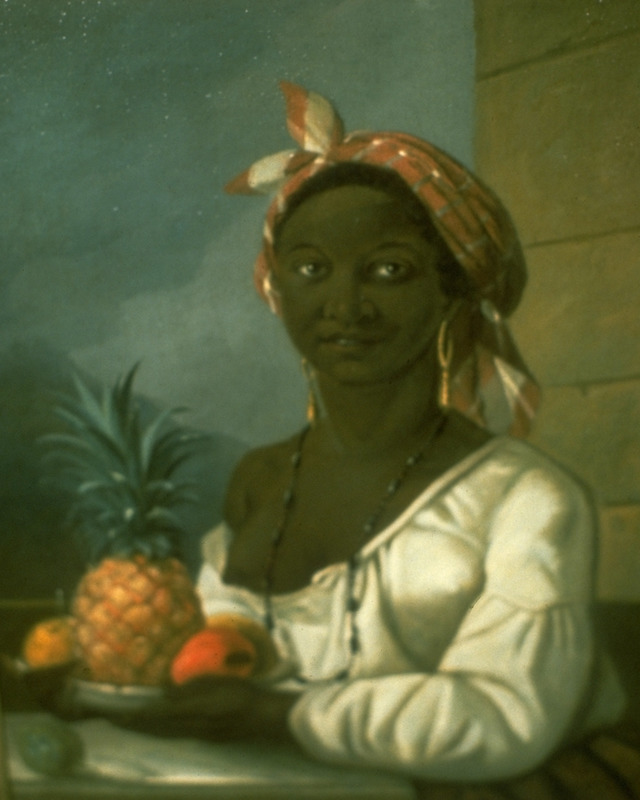 A portrait of a woman thought to have been painted in Saint Domingue and perhaps of Marie-Thérèse Zémire, who was brought to Haiti from Africa and then taken to Montreal as a slave.