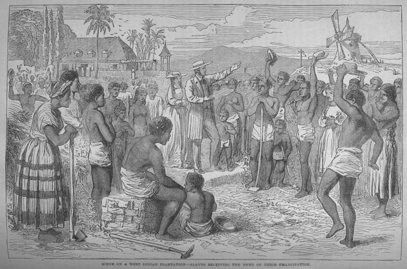 This engraving is occasionally reproduced in secondary sources on Caribbean slavery. This usage implies that the scene is based on an eyewitness drawing. However, the scene has been completely fabricated by the Cassell's late-nineteenth century artist although there are certain realistic features, e.g., dress styles, long-handled hoes, windmill. The drawing accompanies a section of the book which deals with the abolition of slavery in the British colonies (see p. 233).