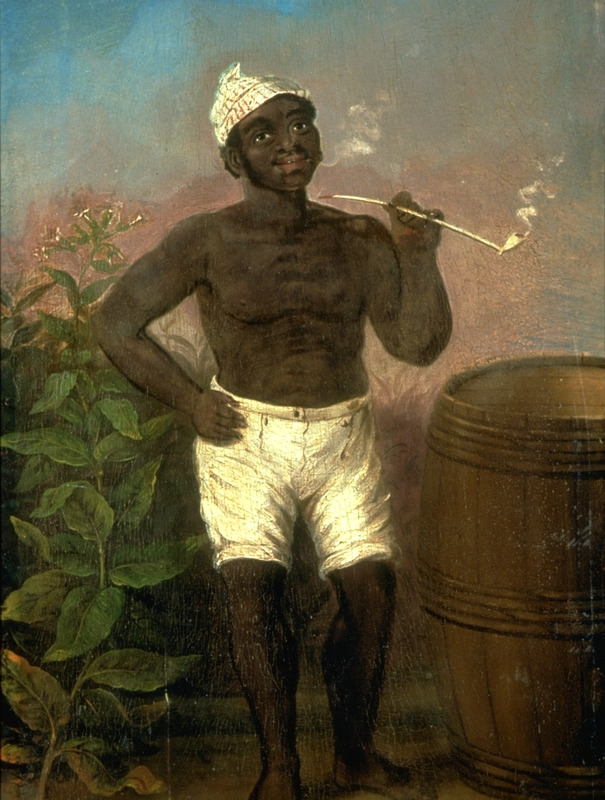 Titled A Negro smoking a pipe, this oil painting of an unidentified man is by an unknown artist; area unknown. Subject is smoking a long stemmed white clay pipe, a very common item throughout the New World colonies. CWF identifies the painting as English, but the location of the painting is not given in the CWF files (slide courtesy of Colonial Williamsburg Foundation, image DS 91-168).