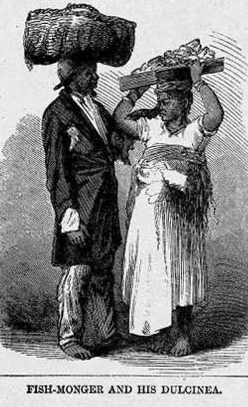 This image shows an enslaved man and woman who were both carrying their wares on their heads. Harper's Weekly provides no specific information on this illustration, but it appears to have been derived from a photograph taken by Jose Christiano de Freitas Henriques Junior, a Portuguese-born cameraman, who produced dozens of portraits of slaves in his Rio studio in the 1860s. For a copy of the original photograph and other details on Junior and his photographs of enslaved Brazilians, see Robert Levine, Faces of Brazilian Slavery: The Cartes de Visite of Christiano Junior, The Americas, vol. 47 (1990), pp. 127-159; particularly p. 147. Harper's Weekly: A Journal of Civilization was an American political magazine based in New York City and published by Harper & Brothers from 1857 until 1916. It featured foreign and domestic news, fiction, essays on many subjects and humor, alongside illustrations. It covered the American Civil War extensively, including many illustrations of events from the war.