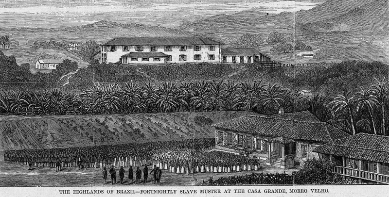 """This image shows a large group of slaves gathered in a plantation compound in the valley of Rio de San Francisco. The """"big house"""" or casa grande, is in the background. This illustration was first published in Richard F. Burton, Explorations in the Highlands of Brazil (London, 1869), vol. 1, facing title page. Burton described how the """"muster of the blacks [took] place every second Sunday. . . about 1100 out of 1452 attended in the 'Compound'. . . Both sexes were bare-footed - everywhere in the Brazil a token of slavery. The women. . . were ranged in columns of six companies. They were dressed in the 'Sabbath' uniform, white cotton petticoats, with narrow red band round the lower third; cotton shawls striped blue and white, and a bright kerchief, generally scarlet, bound round the wool. . . Ranged behind the women, the men are clothed in white shirts, loose blue woollen pants, red caps. . . and cotton trousers. . . Children of an age to attend the Revista are clad in the same decent comfortable way. . . The slaves answer to the roll-call made by the heads of the respective departments. This done, the Superintendent, followed by the Manager and Assistant Manager of the Blacks, and the two medical officers, walks down the companies and minutely inspects each individual. . . Muster over, both sexes and all ages are marched off to church. The day is then their own"""" (pp. 236-237). Harper's Weekly: A Journal of Civilization was an American political magazine based in New York City and published by Harper & Brothers from 1857 until 1916. It featured foreign and domestic news, fiction, essays on many subjects and humor, alongside illustrations. It covered the American Civil War extensively, including many illustrations of events from the war."""