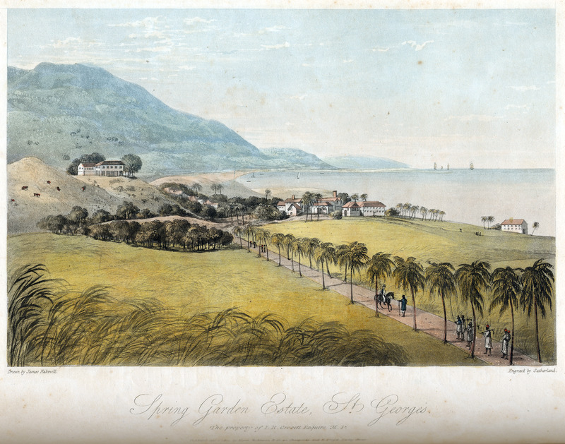 This image shows a seaside sugar plantation, factory and slave houses. There are also a group of field slaves apparently returning from work and a white supervisor on horseback. James Hakewill (1778–1843) was an English architect known for illustrated publications. Several of his works relating to Jamaica can be found in T. Barringer, G. Forrester, and B. Martinez-Ruiz, Art and Emancipation in Jamaica: Isaac Mendes Belisario and his Worlds (New Haven: Yale Center for British Art in association with Yale University Press, 2007), passim.
