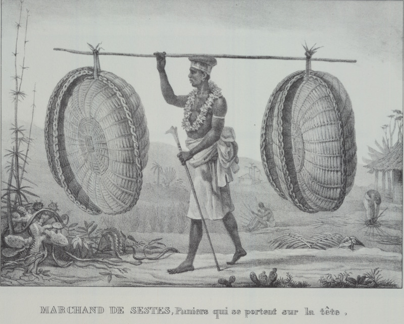 Caption, marchande de sestes [cestos *], paniers que si portent sur la tete (seller of sestes, baskets that are carried on the head); man carrying several baskets hanging from a pole.[ *In the errata section, Debret notes that caption on plate 13 should read Cestos, NOT Sestes.] The engravings in this book were taken from drawings made by Debret during his residence in Brazil from 1816 to 1831. For watercolors by Debret of scenes in Brazil, some of which were incorporated into his Voyage Pittoresque, see Jean Baptiste Debret, Viagem Pitoresca e Historica ao Brasil (Editora Itatiaia Limitada, Editora da Universidade de Sao Paulo, 1989; a reprint of the 1954 Paris edition, edited by R. De Castro Maya).