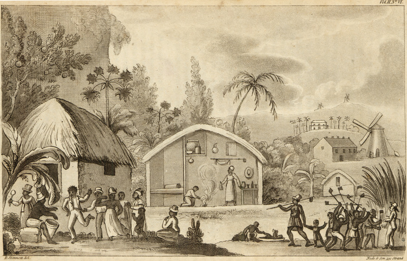 This engraving shows thatched houses and a cross-section of one with its interior furnishings. Shown are people dancing and playing musical instruments (see also image reference NW0014), and a work gang with the ubiquitous long-handled hoe and white overseer or manager. Background structures include the sugar mill and boiling house; behind these the manor or dwelling house, the residence of the owner or manager. The engraving presents a rather idyllic and pastoral view of slave life and activities. It masks a 