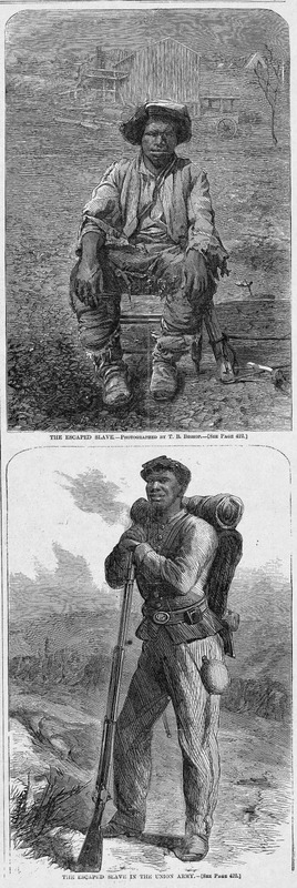 Two portraits of the same unidentified person. The top illustration shows a self-liberating man after his escape from Montgomery, Alabama. The bottom portrait shows the same man in full dress uniform as an enlistee in the Union Army. Harper's Weekly: A Journal of Civilization was an American political magazine based in New York City and published by Harper & Brothers from 1857 until 1916. It featured foreign and domestic news, fiction, essays on many subjects and humor, alongside illustrations. It covered the American Civil War extensively, including many illustrations of events from the war.